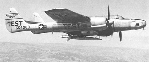 Northrop P-61 airplane used in drop-test technique.