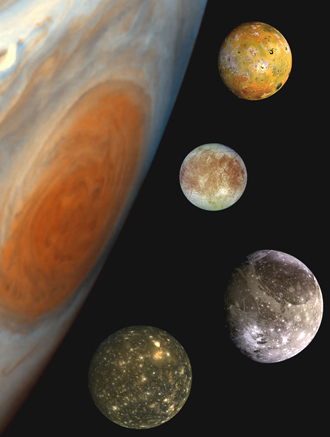 A composite of the Jovian system, includes the edge of Jupiter with its Great Red Spot, and Jupiter's four largest moons, known as the Galilean satellites.