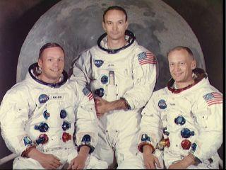 los tres tripulantes de la nave Apolo XI