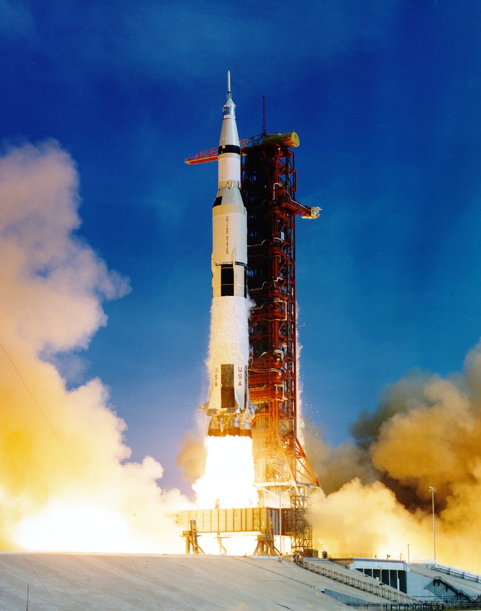 The Apollo 11 space vehicle moments after lift-off