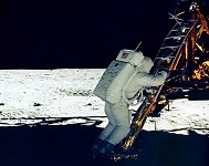 Aldrin on the LM footpad