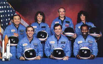 official NASA photo of the Challenger crew