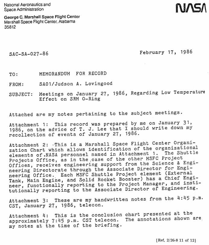 nasa memo to memorandum for record from ja lovingood subject meetings on january